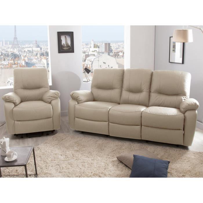 Ensemble canapé 3 places 2 relax manuel fauteuil