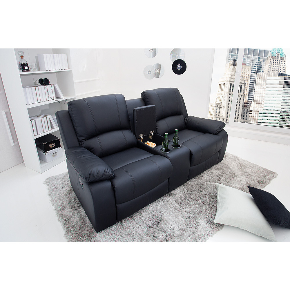 Fauteuil relax à 2 places 188 cm en PU coloris noir