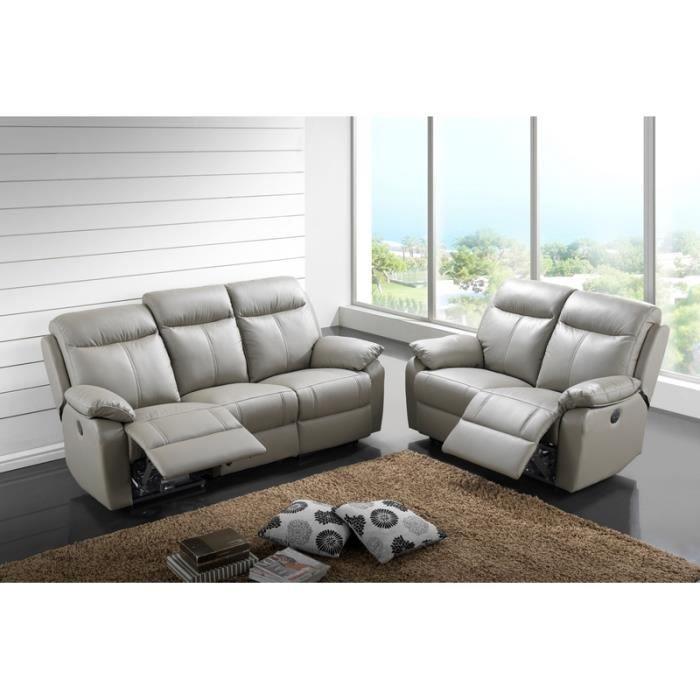 Salon cuir relax électrique 3 places 2 fauteuils gris