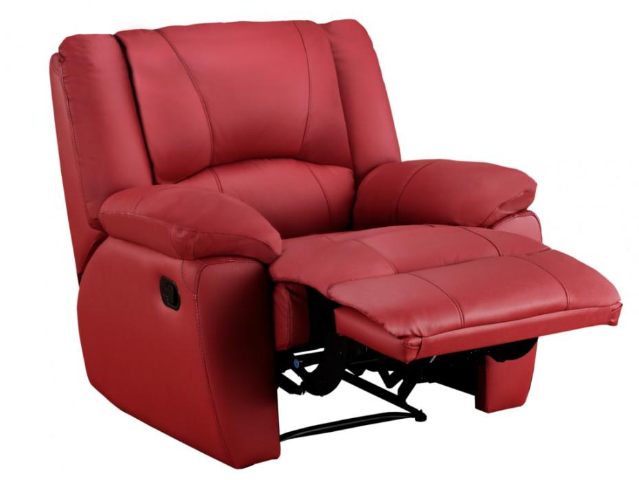 Fauteuil de relaxation en cuir AROMA Coloris Rouge