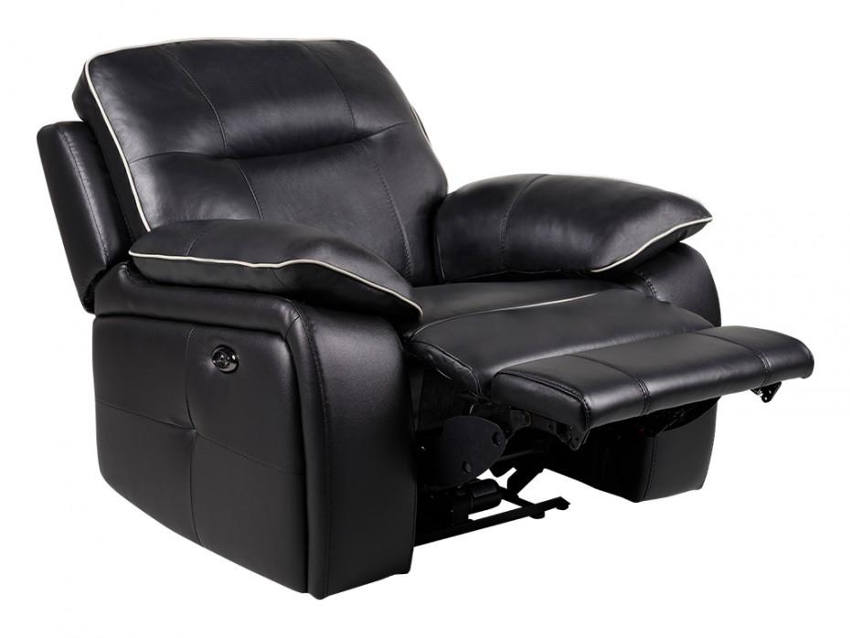 Fauteuil relax électrique en cuir coloris noir CATANE