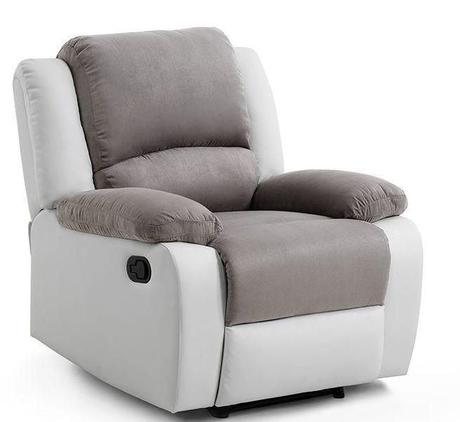 Fauteuil relax microfibre gris et simili cuir blanc Relaxo