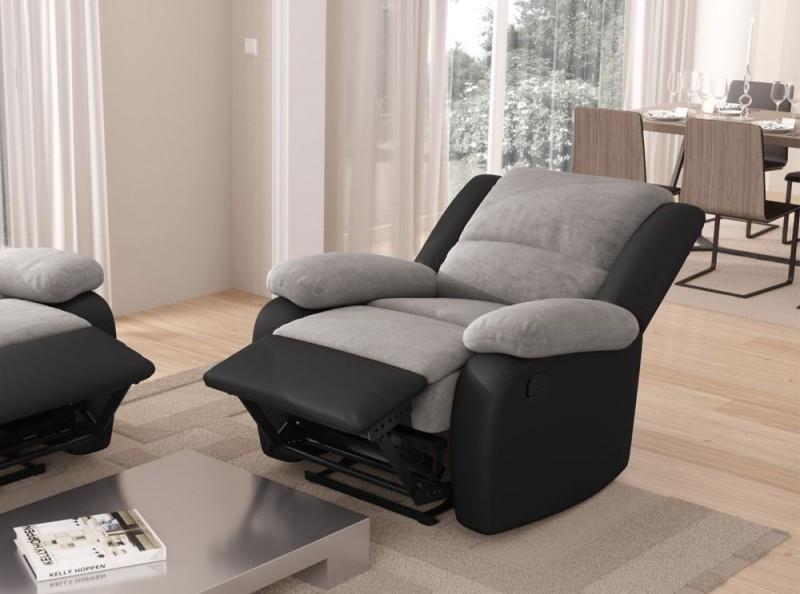 Fauteuil relax microfibre gris et simili cuir noir Relaxo