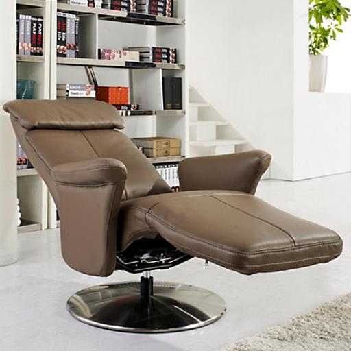 Fauteuil relax cuir manuel de luxe design contemporain