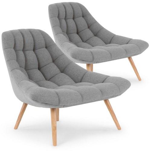 Lot de 2 fauteuils Robson Tissu Gris