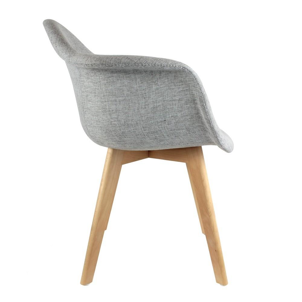 Lot de 2 fauteuils Scandinave Tissus Gris