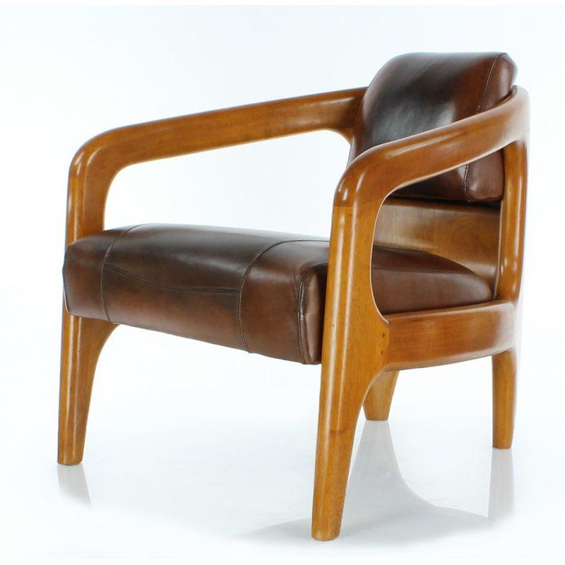 Fauteuil scandinave cuir marron vintage Lund
