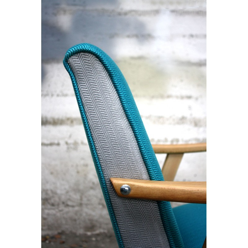 Fauteuil vintage scandinave en bois et tissu turquoise