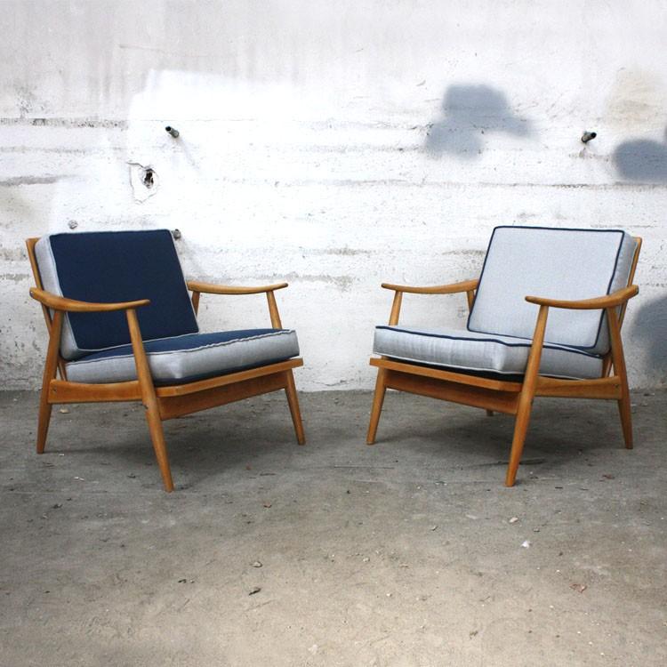 Fauteuil vintage scandinave gris en teck 1960 Design