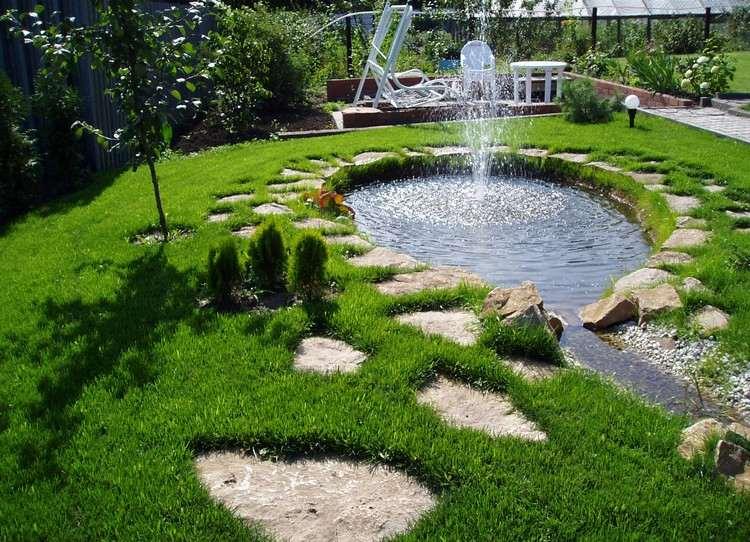 DESIGN EXTERIEUR Bassin Jardin Fontaine Pelouse Pas Japonais