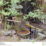 Fontaine Jardin Japonais Fontaine D Eau De Tsukubai Et Lanterne De Pierre Dans Le