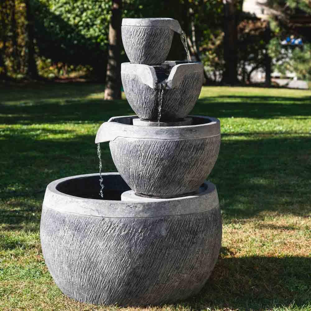 Fontaine de jardin bassin rond 1 10m 4 coupes noire grise