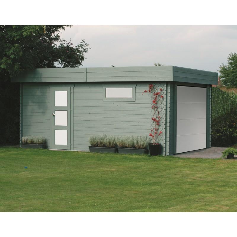 Garage bois à toit plat 19 3m² porte sectionnelle