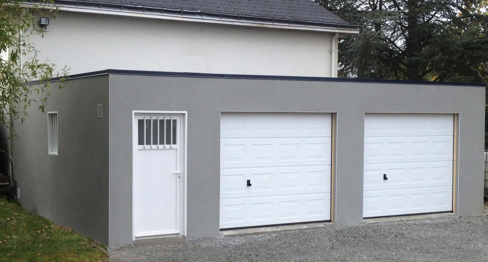 Garage Toit Plat Beton dans Construction Garage Bois
