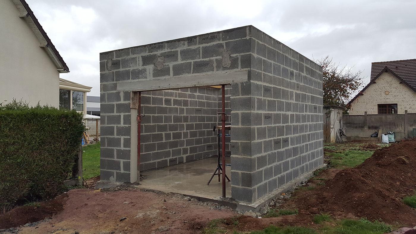Maçonnerie garage toit plat Batim construction