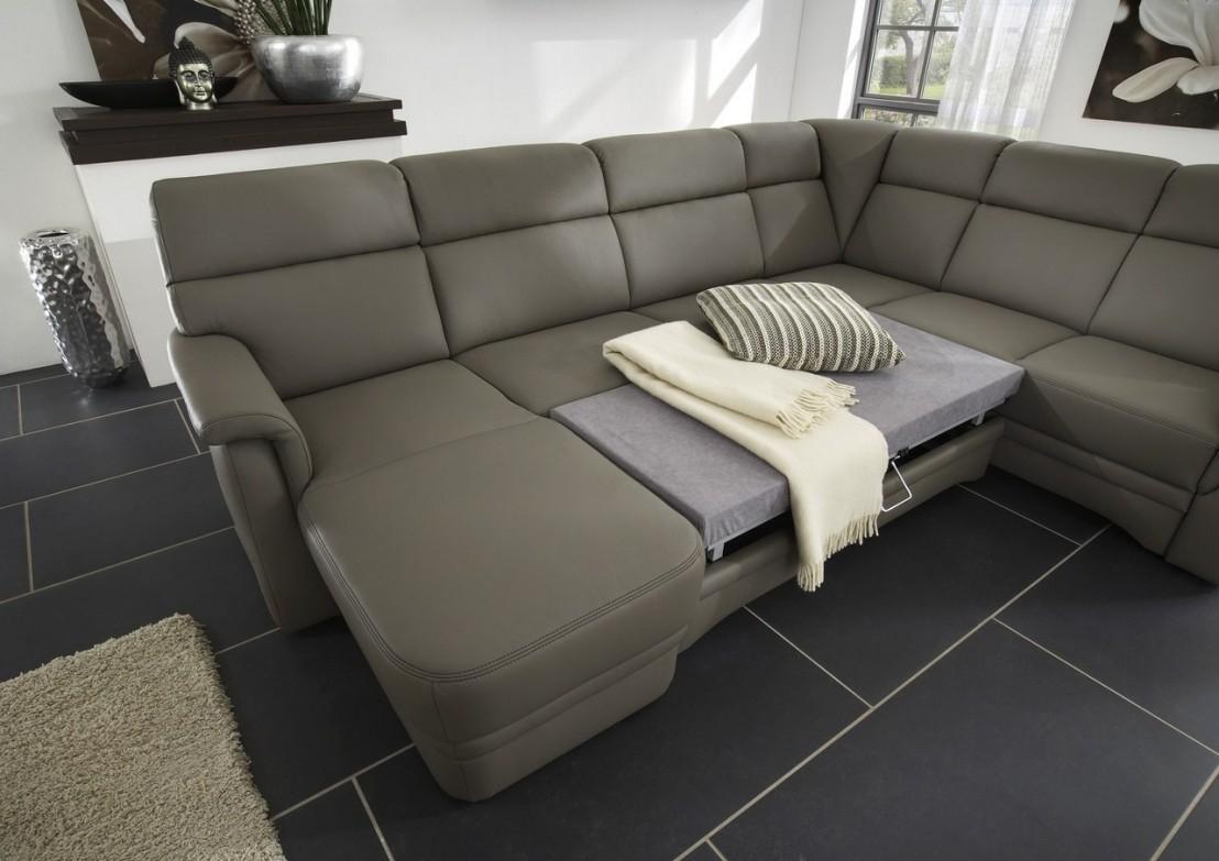 Grand canapé d angle convertible 6 pl en U cuir ElekTra