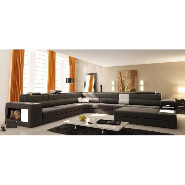 Grand canapé d angle panoramique en cuir gris et blanc