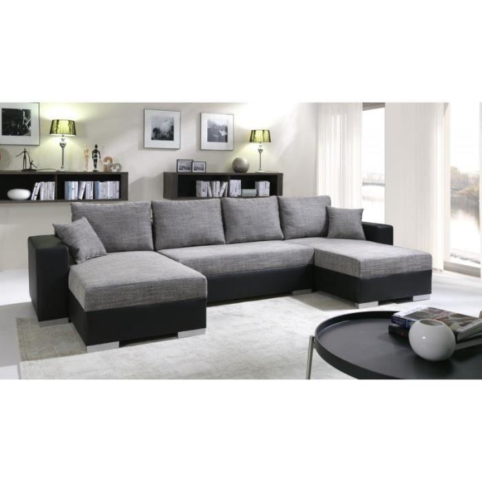 Grand canapé panoramique réversible ENNO gris et noir