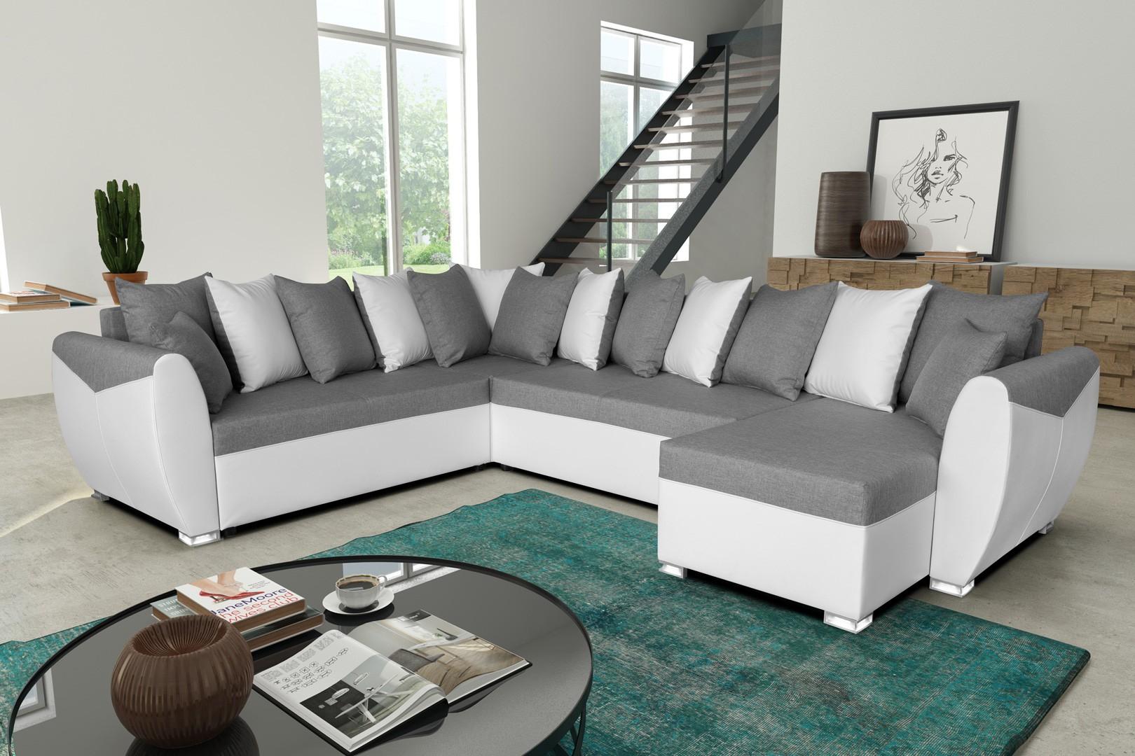 canapé d angle gris et blanc pas cher