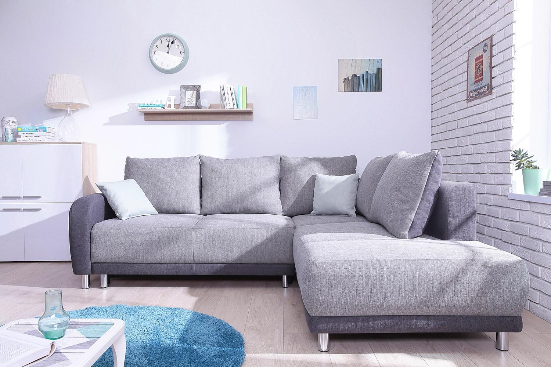 Canapé Bobochic Minty grand angle droit gris bicolore