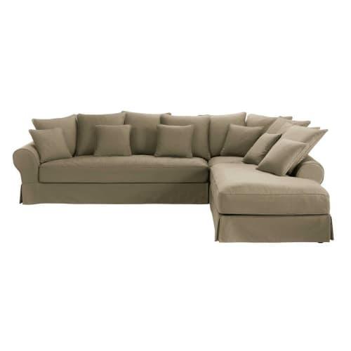 Canapé d angle droit 6 places en coton taupe Bastide