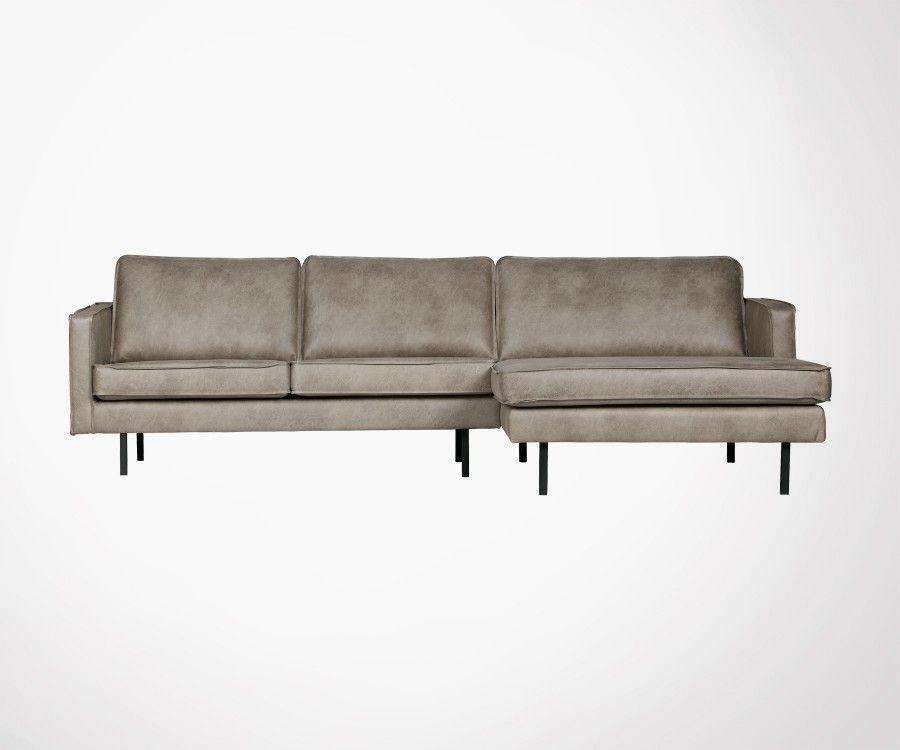 Canapé d angle droit en cuir recyclé style rétro 4