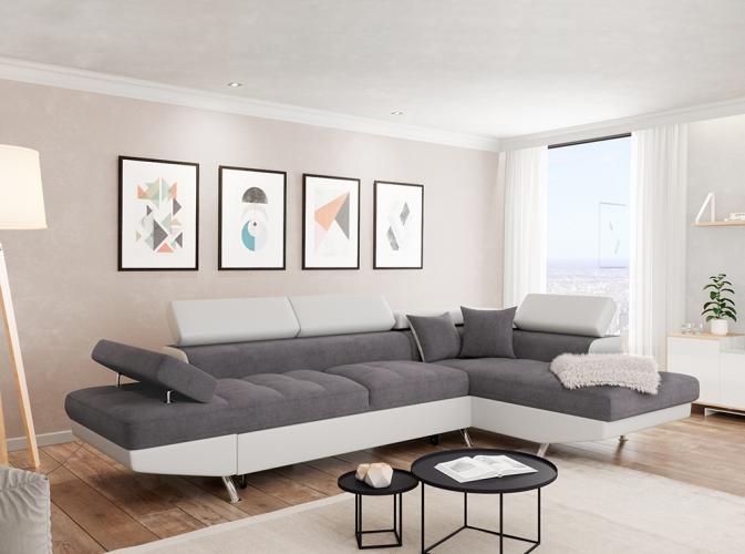 Canapé d Angle Droit RIO Convertible avec coffre Blanc