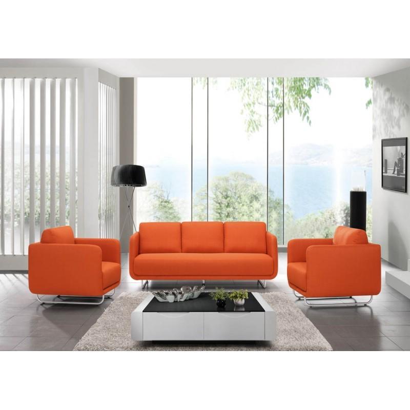 Canapé droit vintage cubique 3 places JONAZ en tissu orange