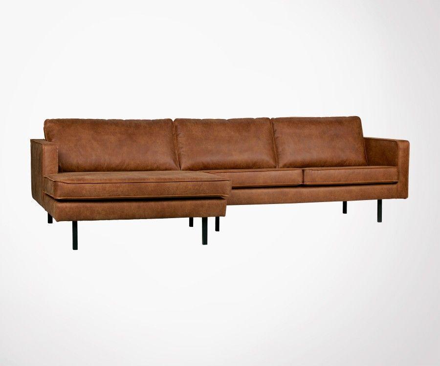 Grand canapé d angle droit cuir rétro COLORADO Meubles