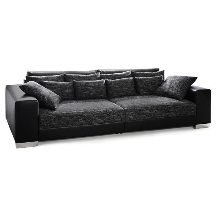 Grand canapé droit QUARTZ noir noir 4 places Achat