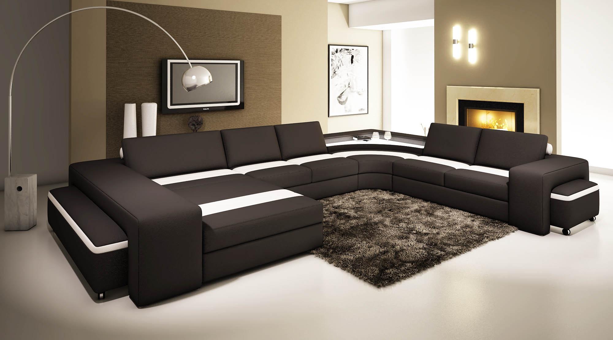 DECO IN PARIS Canape panoramique cuir noir et blanc avec