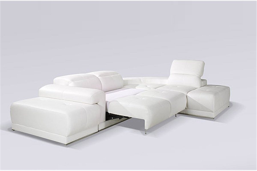 Canape D Angle Convertible Design Droit Cuir Pu Blanc