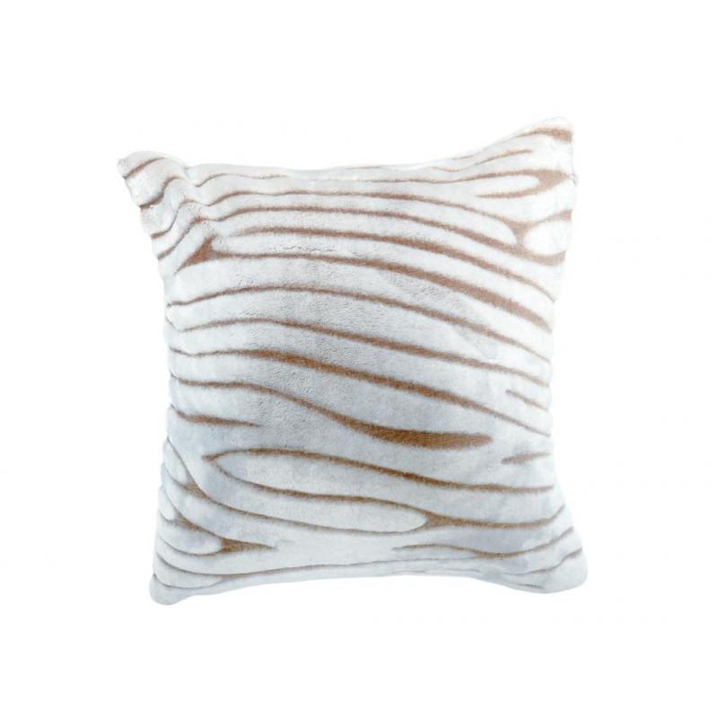 Housse de coussin extra doux 60x60 cm SAVANE taupe et blanc