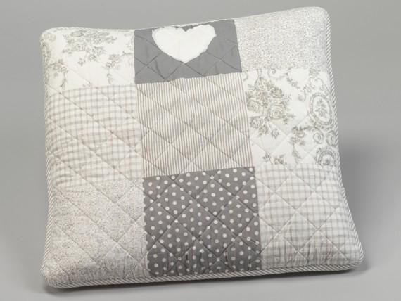 Housse de coussin patchwork 60 x 60 cm à pois et fleurs