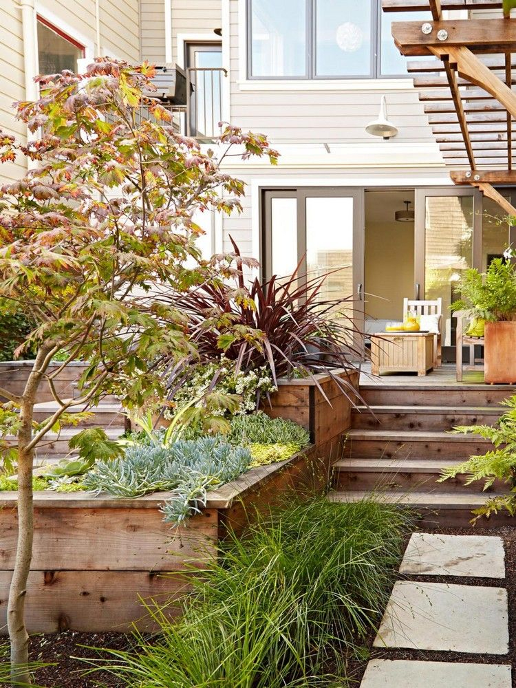 aménagement jardin en pente avec allée en pierre murs de
