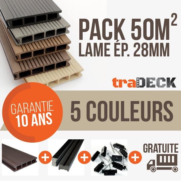 Pack 50m² lames terrasse en bois posite TraDECK