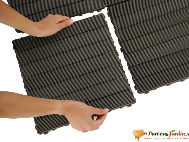 Dalle de terrasse clipsable en posite gris 30 sur