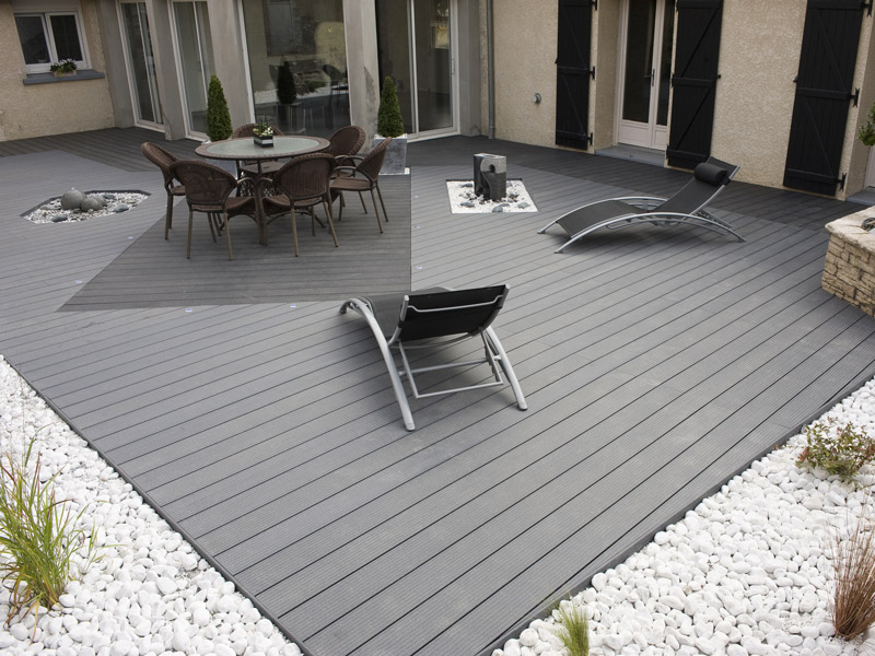 Lame terrasse bois posite gris anthracite Mailleraye