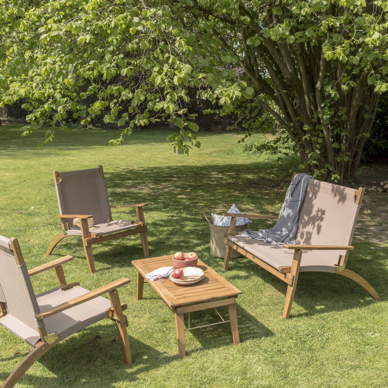 Salon bas de jardin Primavera bois naturelle 4 personnes
