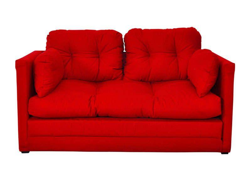 Canapé convertible 2 places PILLO coloris rouge