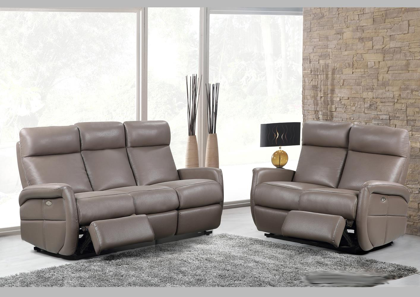 Magasin Canapé Cuir Acheter Votre Canapé 3 Places En Cuir Taupe Avec 2 Relax