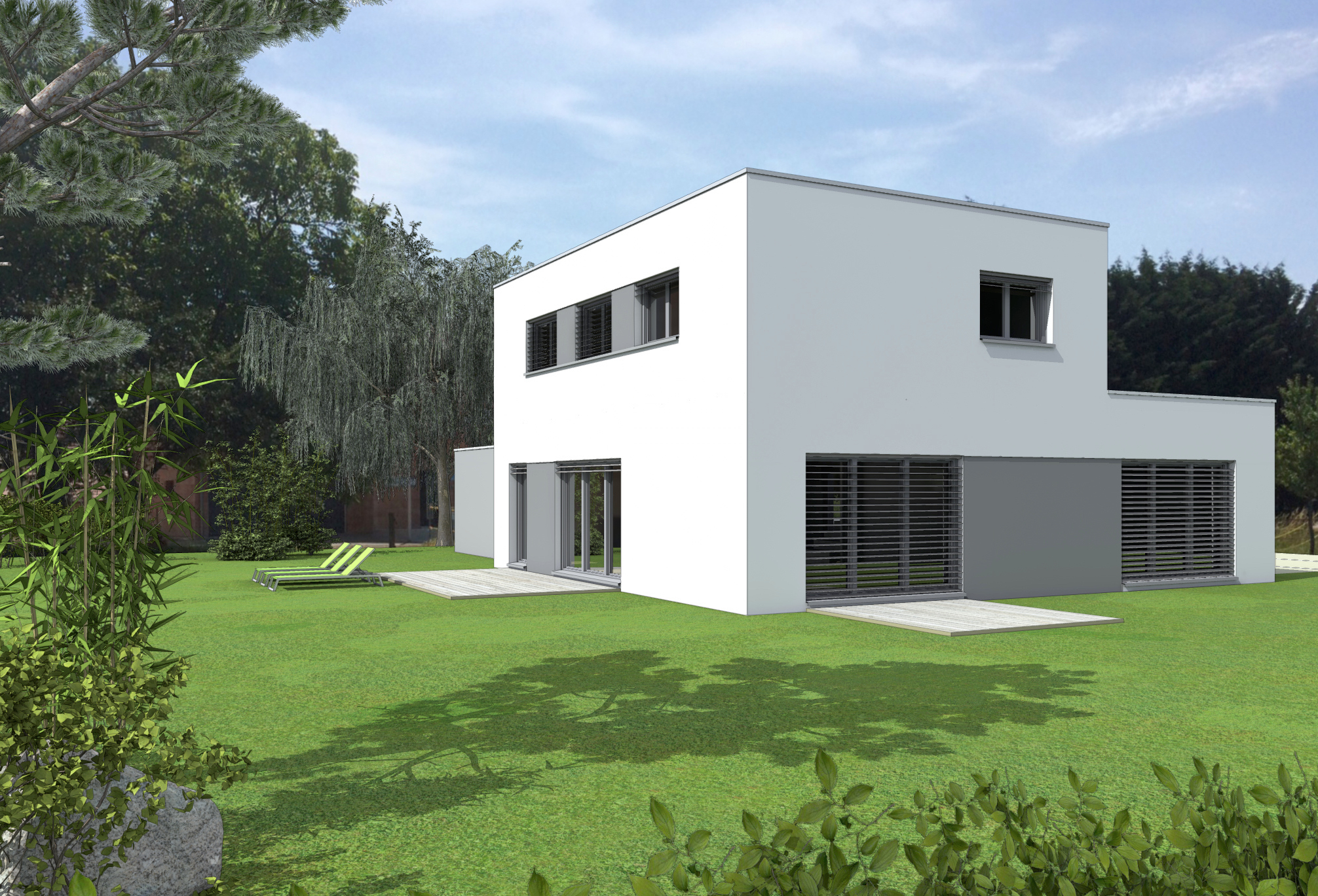 Maison toit Plat Concept