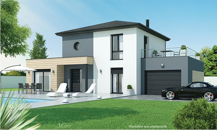 Maison design toit terrasse Brioude LogiVelay