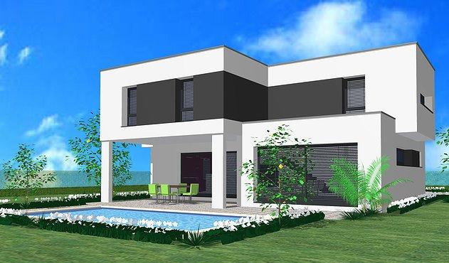 maison toit plat avec terrasse couverte