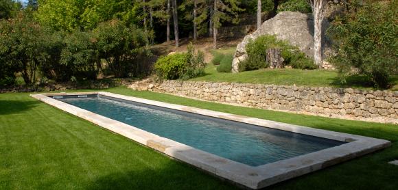 Bassin de nage traditionnel avec margelles en pierre