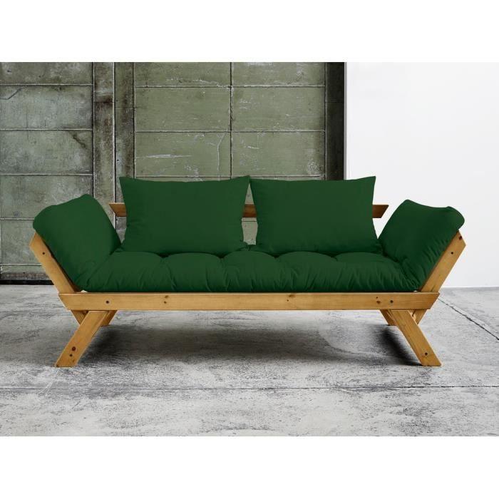 Canapé convertible en bois miel avec matelas futon BEBOP