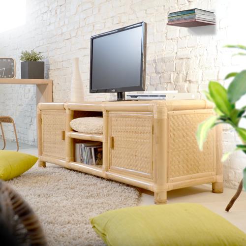 Meuble En Bambou Meuble Tv Bois Massif Meubles Télé Chene Teck Acajou