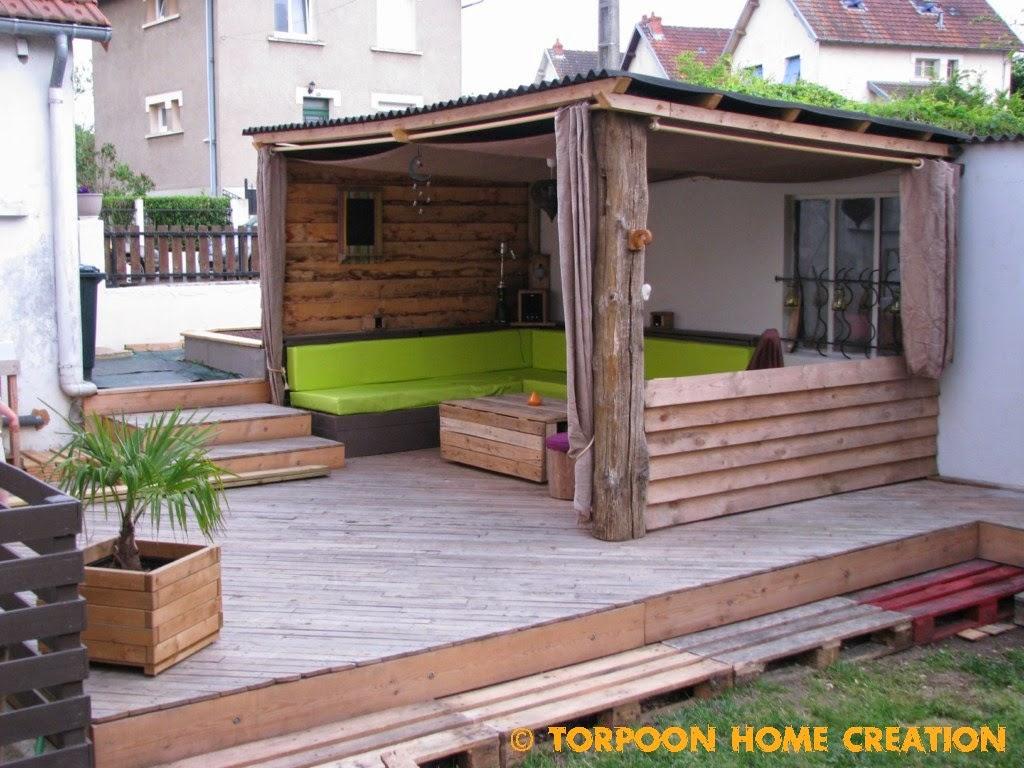 Torpoon Home Creation Terrasse en palettes et abri extérieur