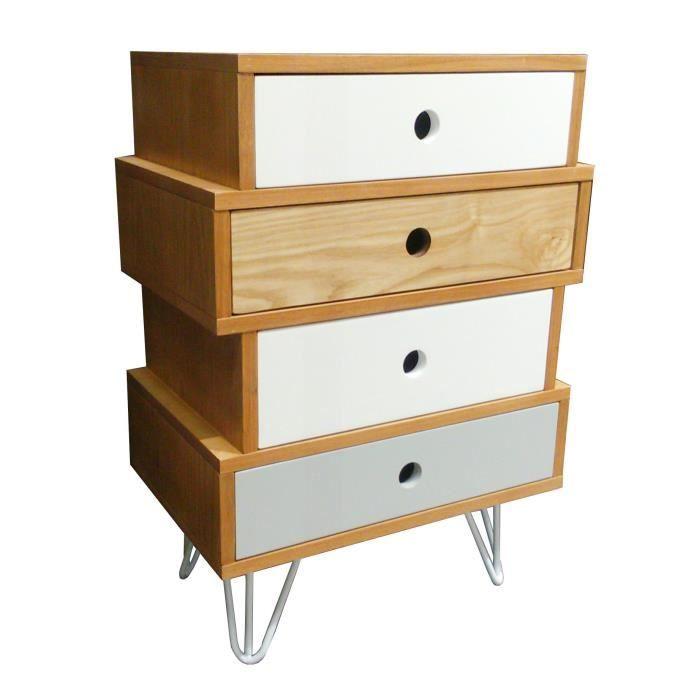 Meuble mode 4 tiroirs Esprit Scandinave Coloris