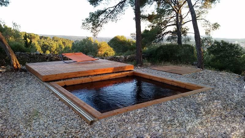 Mini piscine terrasse bois Mailleraye jardin